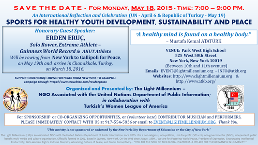SPORTS FOR YOUTH DEVELOPENT AND PEACEMAY 18 - SAVE THE DATE
