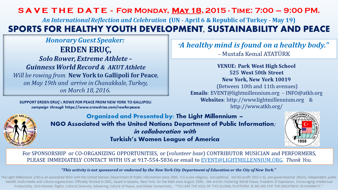 MAY 18 - SPORTS FOR HEALTHY YOUTH, SUSTAINABLE DEVELOPMENT AND PEACE - SAVE THE DATE